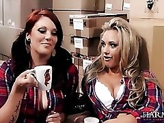 Sexy lesbian warehouse workers fuck their boss