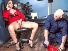 Katana Kombat is once again working late at the office. She's lonely and horny, so she calls her out of town husband for some kinky phone sex