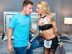Big-boobed maid in stockings Sarah Jessie fucks with a house owner