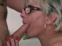 Long-haired grandma with glasses pounded hard