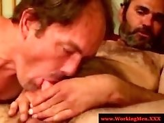 Hairy mature bear sucked and tugged