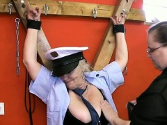 Horny old granny police officer gets