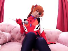 Japanese cosplay ginger babe tugging cock