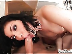 Slut in pink lipstick fucked in the tight ass