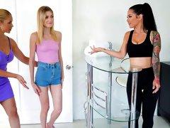 Cute girlfriends Sarah Vandella, Katrina Jade and Mackenzie Moss love sex