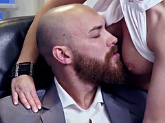 Secretary has to prove her worth to her horny boss