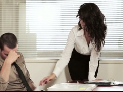Tight office girl Alexa Tomas in glasses pounded on the desk