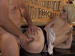 nora barcelona a slutty spanish girl in college uniform takes hard anal
