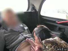 Lady fucking on security cam in fake cab