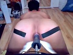 Big dildo fucking machine doggy anal