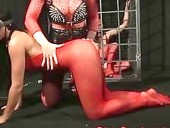 Chick in red nylon gets dominated by her horny mistress