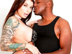 White slut with huge boobs Ivy Lebelle dominated by a big black dick