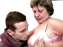Big young dick sucked on by a curvy mature