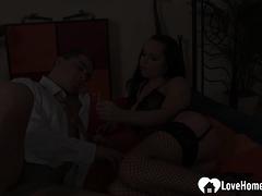 Babe in stockings pleasures his throbbing pecker