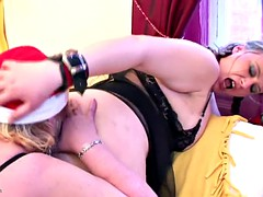 Kinky lesbo party girl with grandma and uro