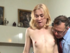 Sensual bookworm gets seduced and plowed by her aged mentor0