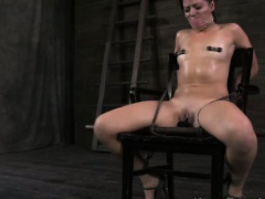 Restrained nipple clampled slut obeys master