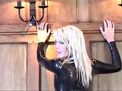 natasha marley - black latex sleeved catsuit