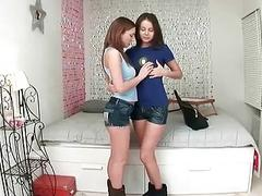 Innocent teens kissing and fingering each other