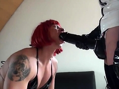 Kinky crossdresser takes a huge toy up his ass from behind
