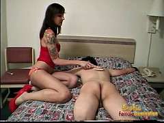 Delicious black-haired bint has some kinky fun with bedroom