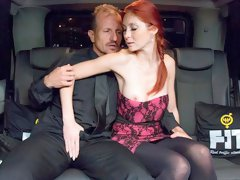 Czech redhead Kattie Gold gets fucked wildly on the backseat of a car