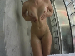 Samantha wonders through the house before she showers off