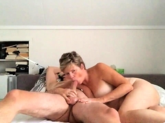 Buxom blonde wife has a thick cock pleasing her hungry cunt