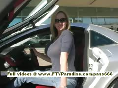 Kaitlyn gorgeous blonde slut takes pictures near a car