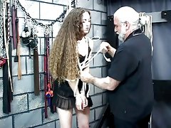 Old guy uses ropes on Nicole in dungeon