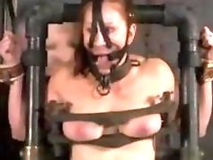 Ginger slut Catherine DeSade tied up and anally toyed BDSM