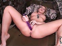 Purple dildo anally fucks Kathia Nobili