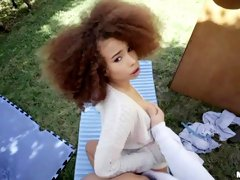 Curly-haired ebony Cecilia Lion is enjoying dick-riding so much