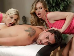 Two awesome babes Anya Olsen and Ashley Fires are enjoying his boner