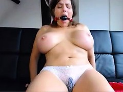 BBW with huge breasts bates and gags himself