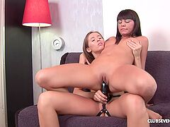 Girls love a short couch oral in a sweet lesbian scene