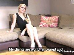 Hot blonde rims and fucks agent