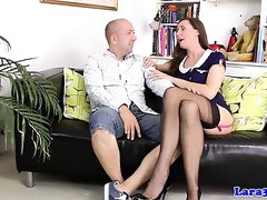 Stockinged british milf doggystyled before bj