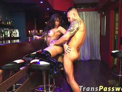 Shemale Rebecca Cavalcante gets banged roughly in a bar