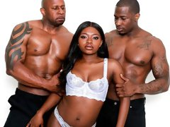 Sweet black doll Noemie Bilas enjoys double penetration