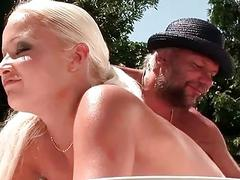 Grandpa and young blonde pissing and having sex