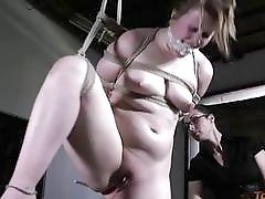 Bound bimbo gets fingered and toyed by mistress BDSM porn