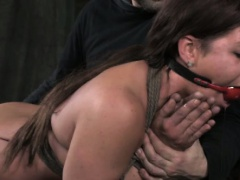 Gagged sub gets spanked and toyed
