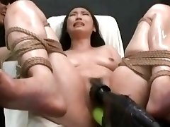 Kinky Asian chick receives hard toying while tied up BDSM