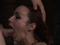Restrained subslut drilled in mouth and pussy