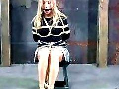 Cute blonde babe molested by lezdom mistress bondage BDSM movie