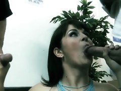 Lovely Kristi gets nailed in a threesome