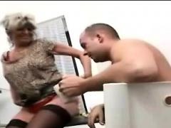 Hung perv seduces a big boobed nasty blonde granny
