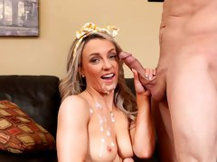 Great-looking golden hotie Kate Kennedy jumps on a very big dick
