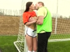 Brunette teen gold shoes first time Dutch football player
